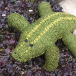 A knitted plush alligator named Big Hank